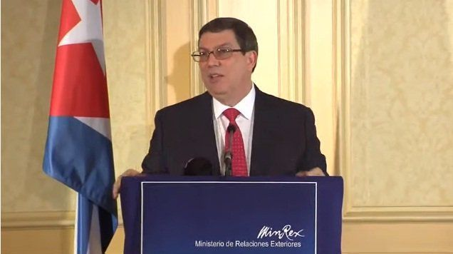 El canciller cubano Bruno Rodríguez en la Conferencia de Prensa de hoy en Viena, Austria, 19 de junio de 2017. Foto: Twitter.