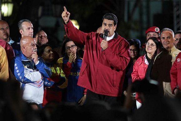 Nicolás Maduro celebra el triunfo en las elecciones de la Asamblea Nacional Constituyente. Foto: Prensa Presidencial.