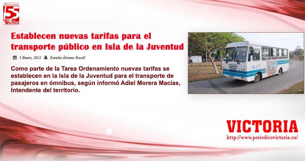 Establecen nuevas tarifas para el transporte público en Isla de la Juventud