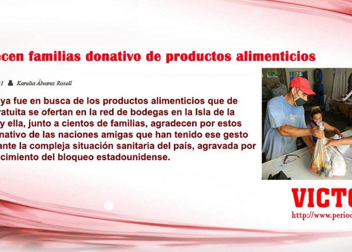 Agradecen familias donativo de productos alimenticios